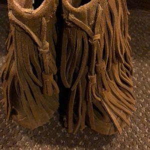 Minnetonka Shoes - Minnetonka Fringe Slip-on Ankle Boots